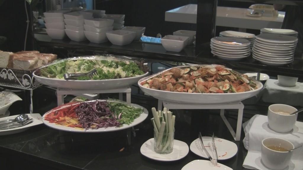 Plaza Premium Lounge salad bar at KUL.