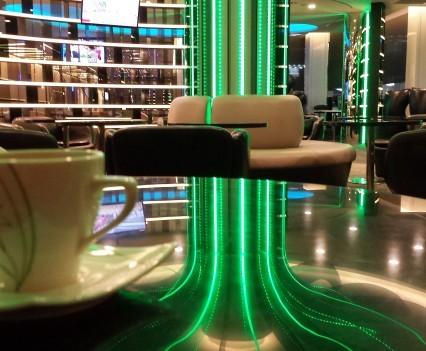 Giant neon mushroom at Eva Infinity Lounge TPE