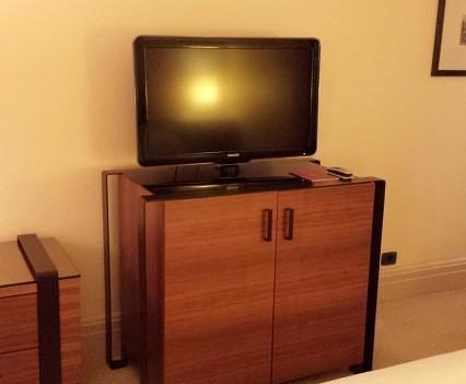 TV and minibar.