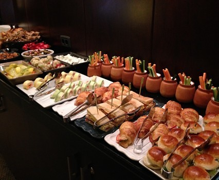 Evening buffet at Grand Hyatt Istanbul Club Lounge.