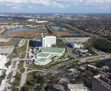 Hilton Orlando from Helicopter.
