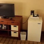 TV and bins. LAX Four Points by Sheraton.