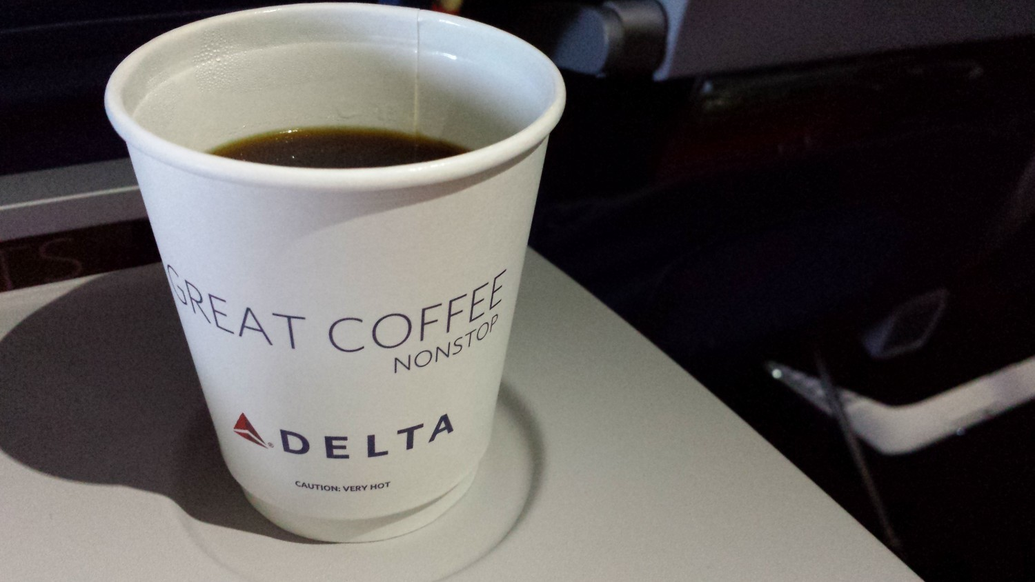 """Great Coffee"" printed on Delta coffee cups."