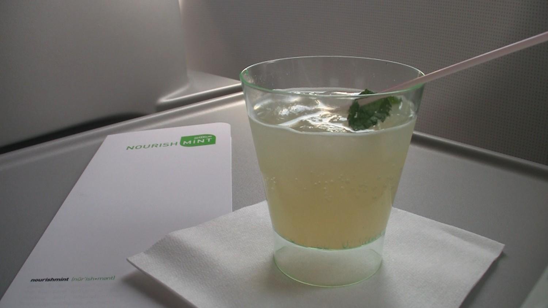 JetBlue Signature mint cocktail.