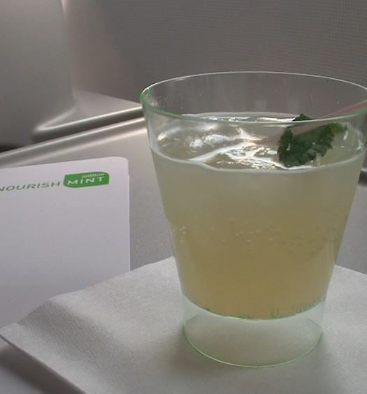 JetBlue Signature mint cocktail.