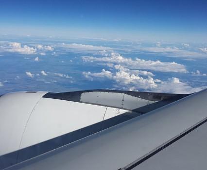 Swiss A330 Engine and sky.