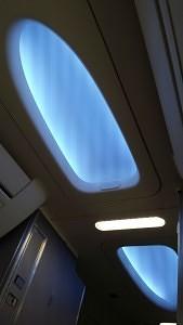 Mood lighting aboard a United 737-900.