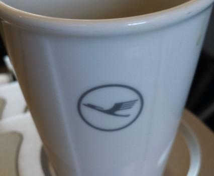 Lufthansa business coffee cups.