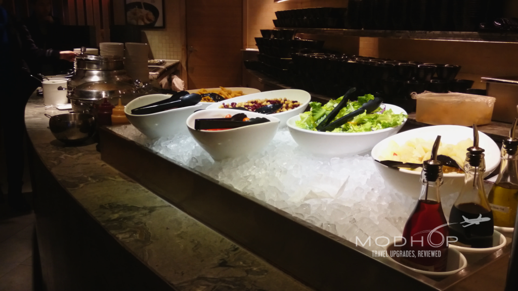 Salad Bar and Dim sum at this HKG Plaza Network Lounge