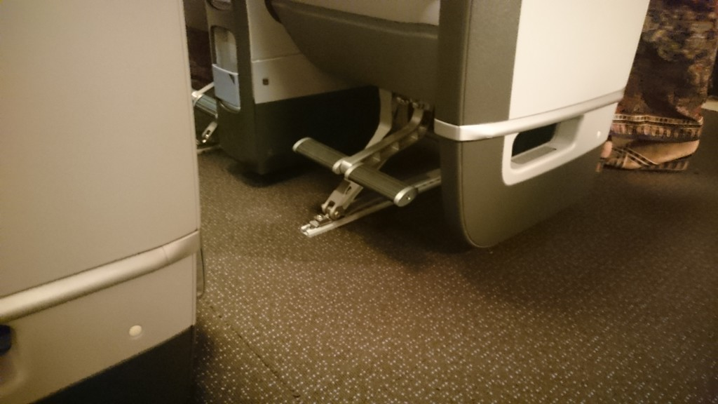 Feet/legrests in Premium Economy.