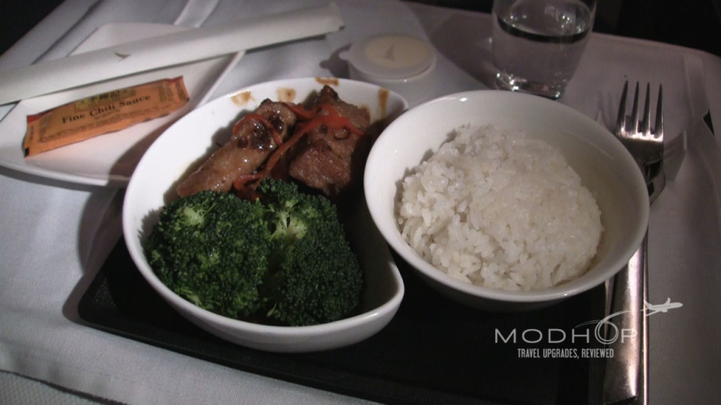 Our Cathay Pacific Business Class Review shows off this Chinese Fried Pork Spare Rib Entree.