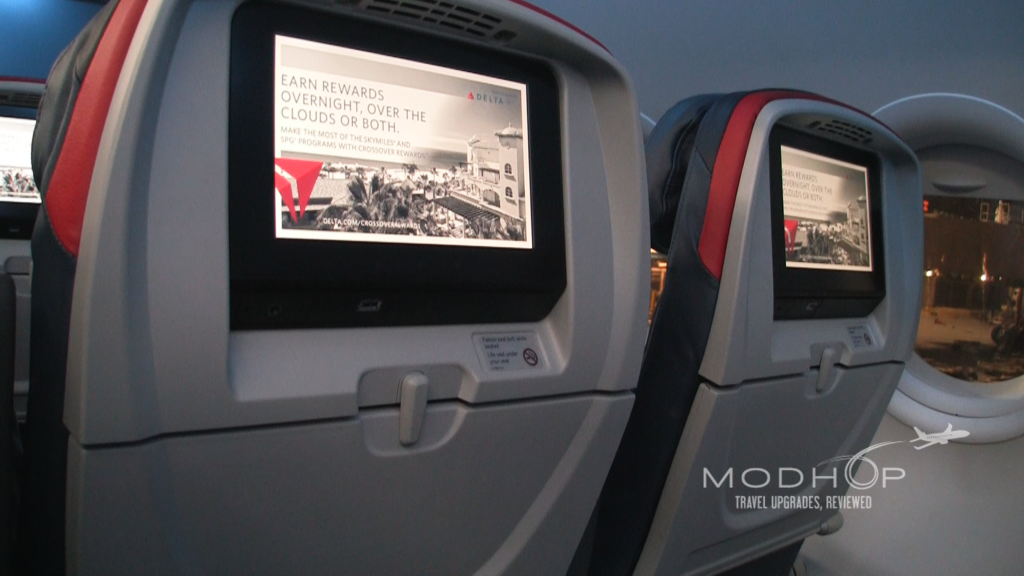 Delta Comfort Seats with seatback TVs on an A319.