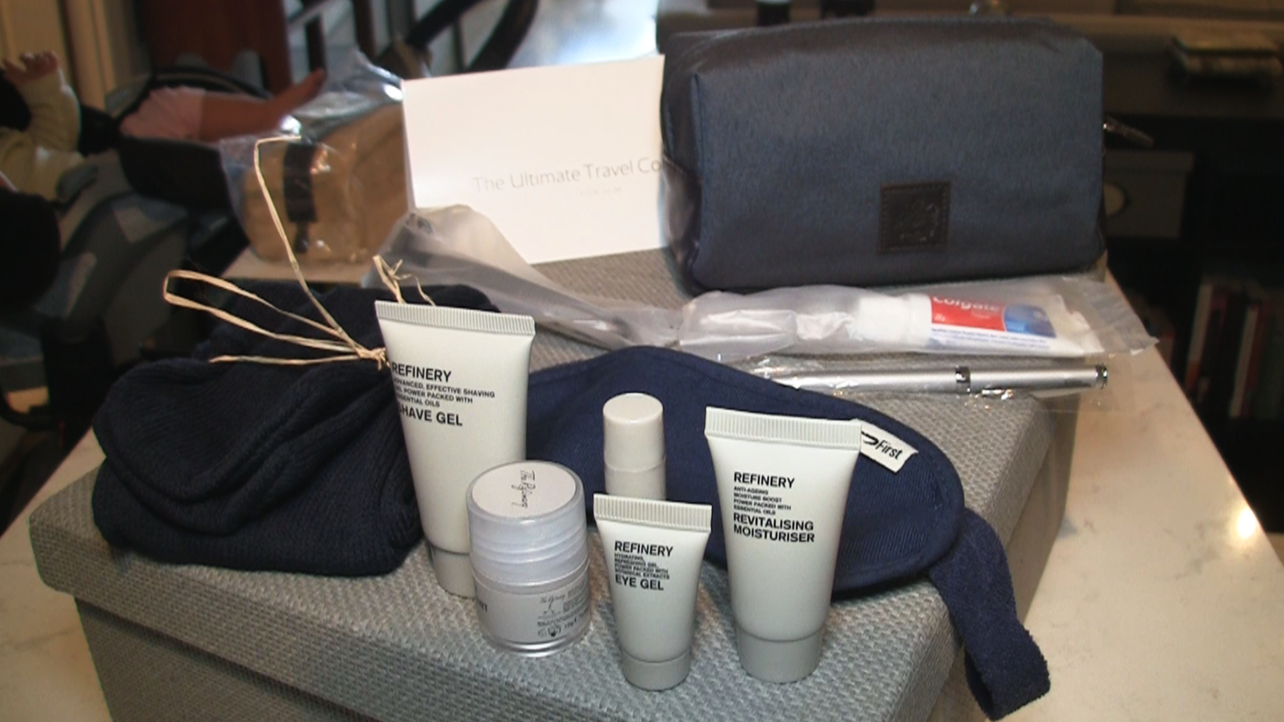 British Airways First Class Amenity Kit contents.