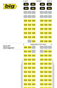 Seating for A321 Spirit Airlines Flights