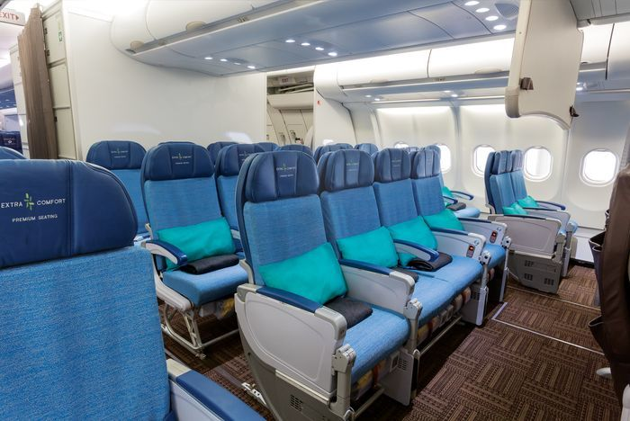 "A330 Extra Comfort Seats are behind Hawaiian Airlines First Class (known as ""Preferred"" seating)"