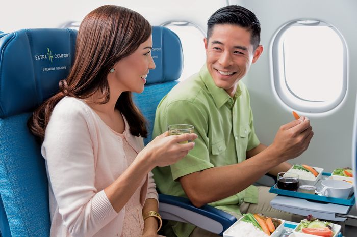 Extra Comfort seating comes with a special menu that isn't Hawiian Airlines First Class quality, but better than coach.