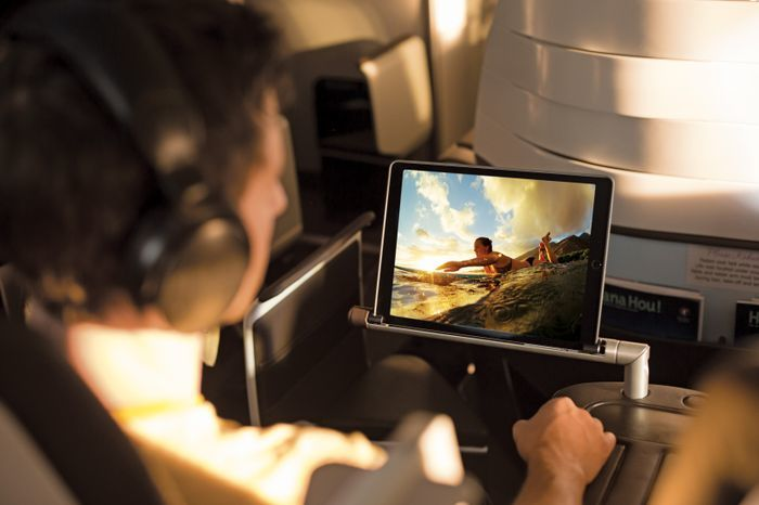 Hawaiian Airlines First Class Entertainment delivered via Tablet.
