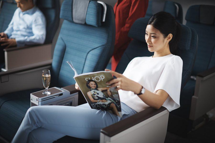 Cathay Pacific A350 Premium Economy seat.
