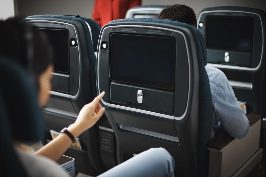 Cathay Pacific Premium Economy TV on the A350
