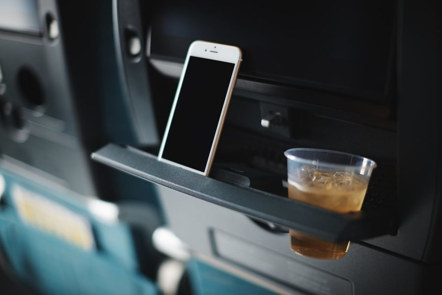 The Cathay A550 tablet holder makes watching your own device easy. [Image: Cathay Pacific]