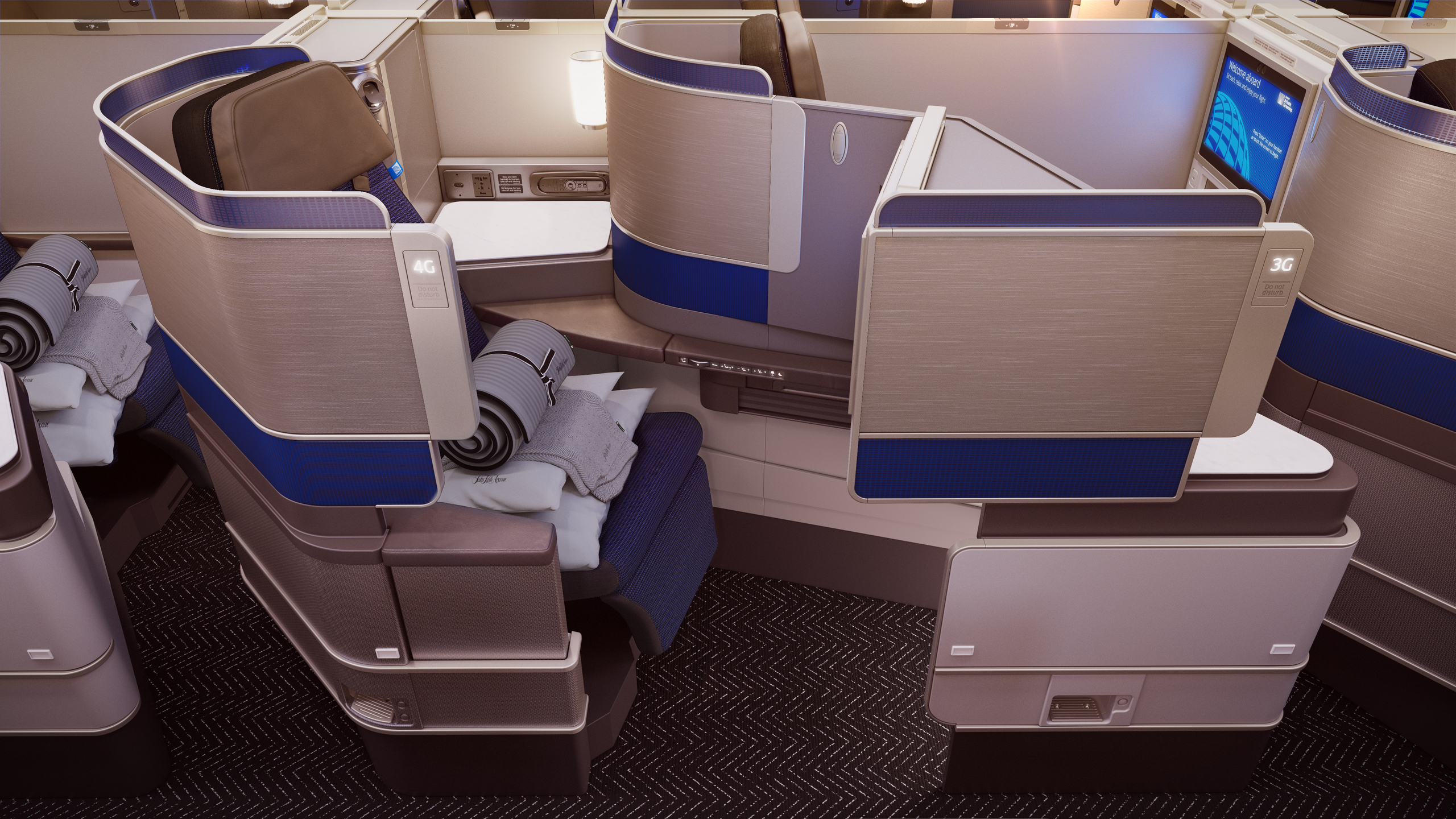 Side view of new United Business Class seats show aisle access.