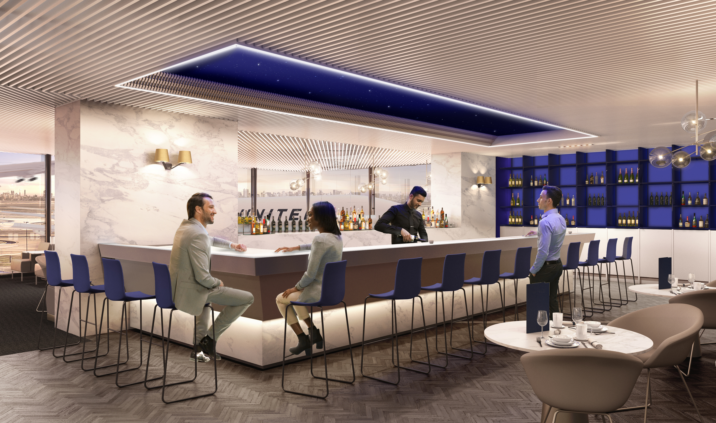 United Airlines Business Class lounge visitors get premium cocktails at the Polaris Lounge bar.