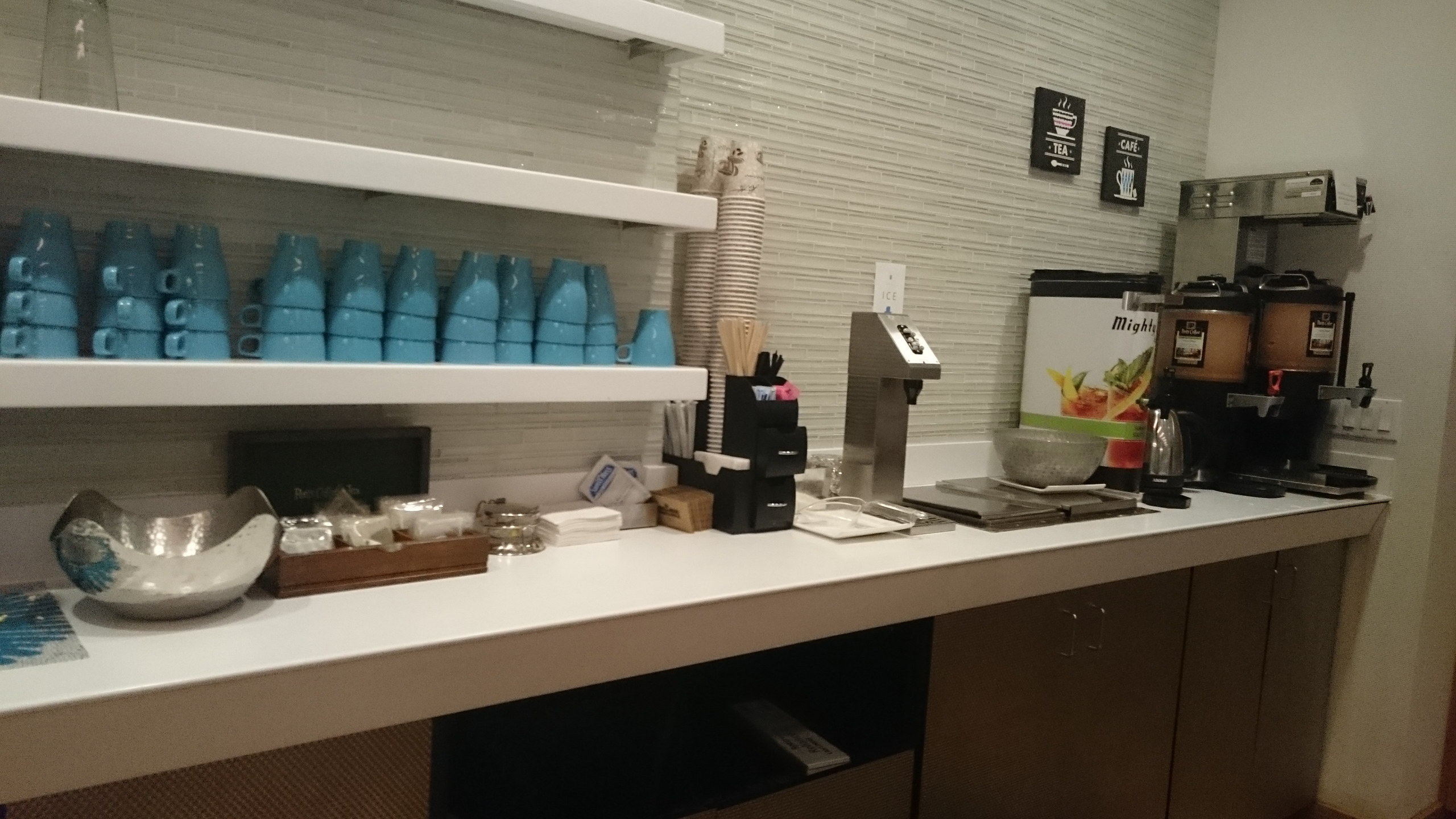 Complimentary items counter at Airspace Lounge.