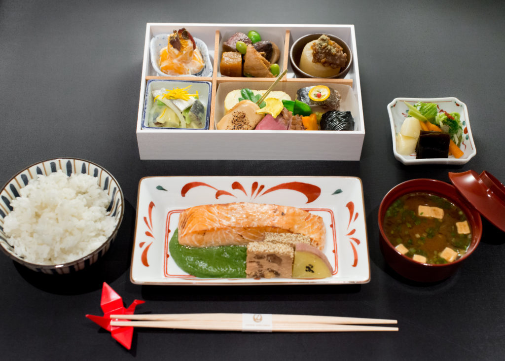 Business Class full meal from Japan Airlines food menu to HND from LHR.