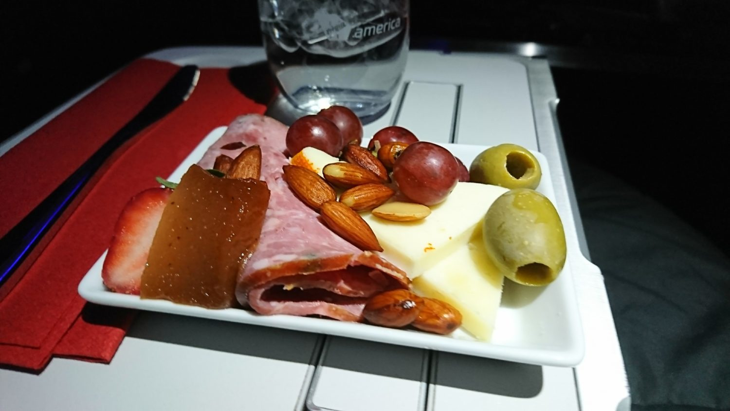 Meat and cheese snack in Virgin America First Class.