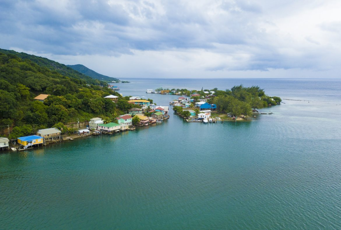 Aerial view of Oak, Ridge, the Venice of the Caribbean, in Roata