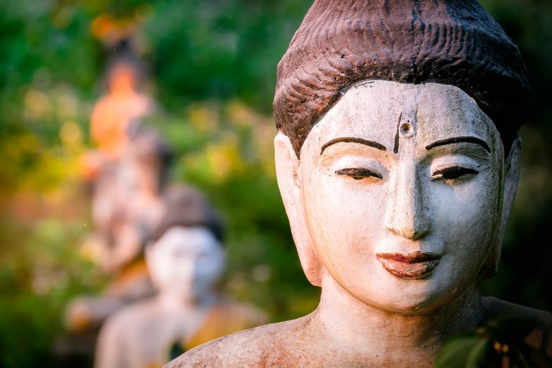 Buddhas statues in Loumani Buddha Garden. Myanmar