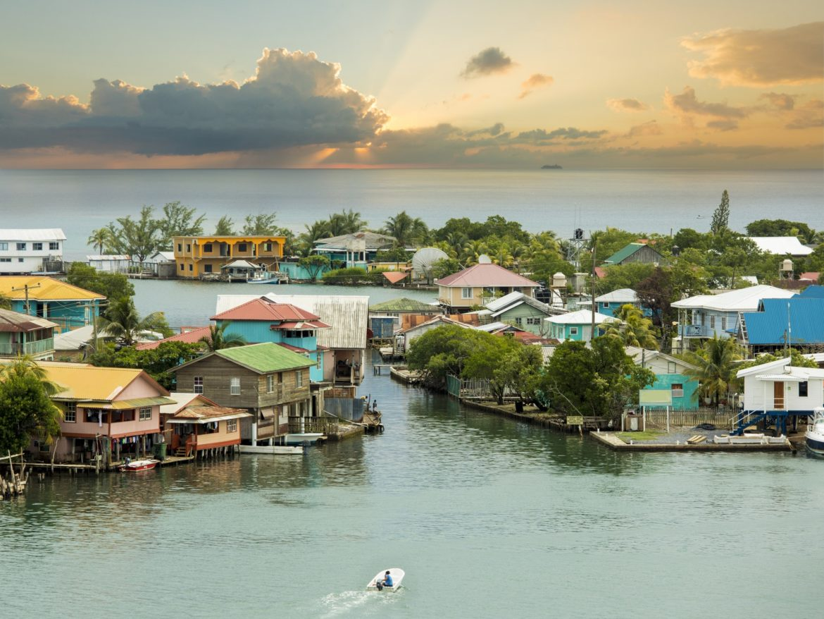 Oak Ridge area of Roatan Island, Honduras at sunrise