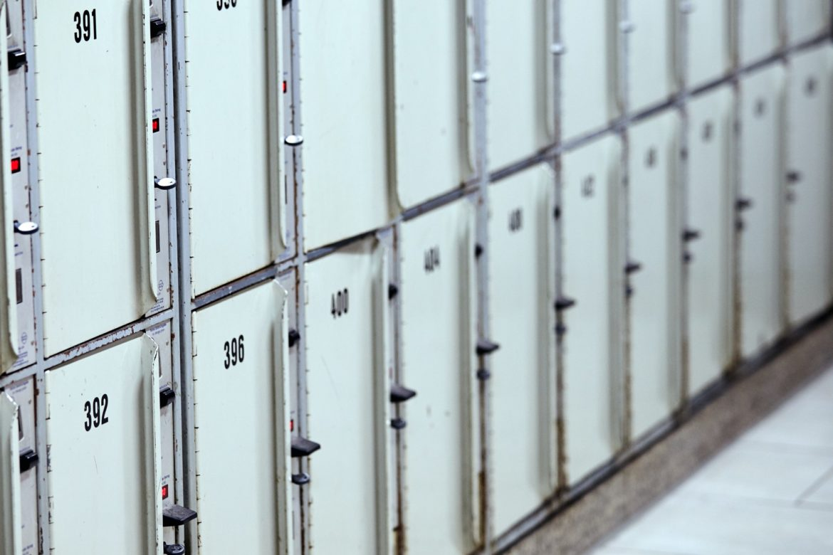 lockers storage compartments with numbers. Locker in train stati