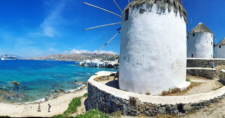 Panoramic photo of Mykonos windmills