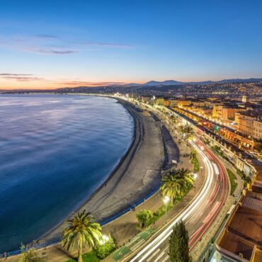 Promenade and Coast of Azure at dusk in Nice