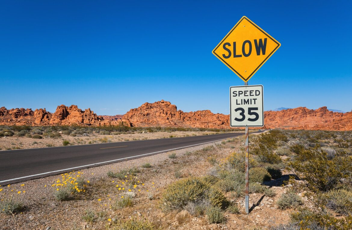 Traffic Sign Slow, Valley of Fire, USA