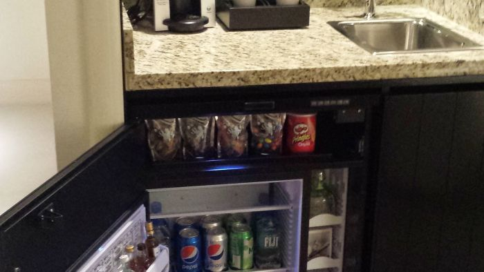 Mini-bar and Keurig Coffee maker.