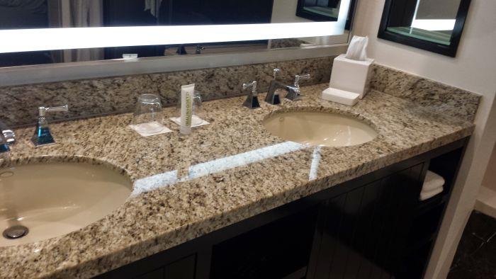 Sink area in washroom.