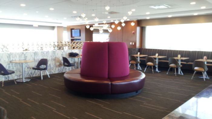 Circular, outward facing seating.