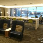 Workbar that faces outside at new Delta Sky Club Newark
